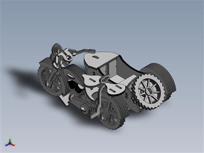 激光切割摩托车和侧卡木制玩具