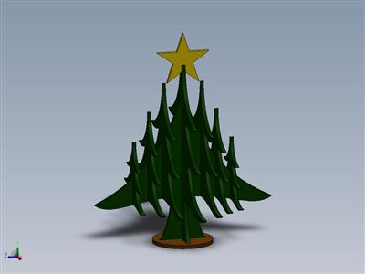 圣诞快乐Grabcad圣诞树激光切割