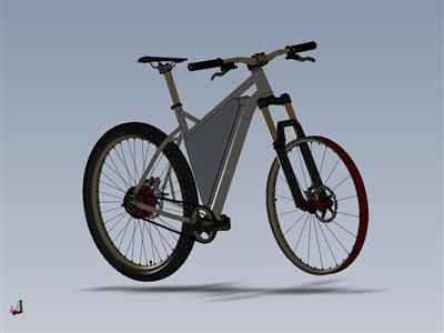 带前三角电池组和后轮毂电机的钢制B+硬尾自行车