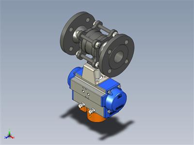 球阀DN40 PN40,L=200带气动执行机构